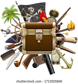 Vector Pirate Treasure Hunt Concept isolated on white background