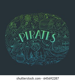 Vector Pirates set in freehand style. Symbols of pirates - hat, sword, guns, treasure chest, ship, flag, captain, skull and crossbones, compass, mermaid, map, parrot.