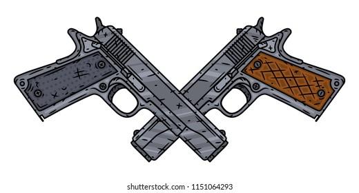 Vector pistol. Two crossed pistols