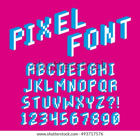 Vector Pixel 3 D Font Alphabet Numbers Stock Vector Royalty Free