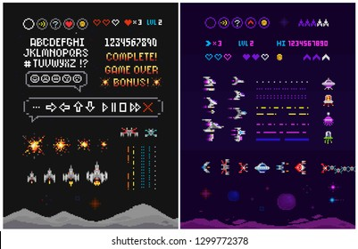 Vector Pixel 8 bit indie game creator set of Ufo invaders, aliens, space ships, icos with font alphabet. Ufo space video game. Retro pixelated 8 bit arcade computer game template vector illustr