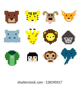 Vector pixel animal face collection