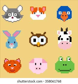 Vector pixel animal faces collection