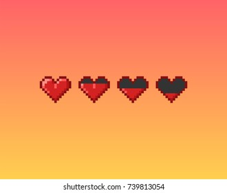 Vector pixel art 8 bit style hearts for game. Icon set illustration with concept of spendable lives game mode.