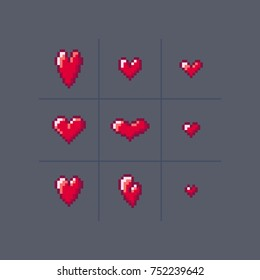 Vector pixel art 8 bit style hearts different forms. Icon set illustration.