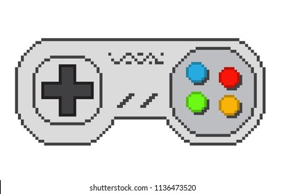 Vector pixel art 8bit illustration of a retro video game controller isolated on white.