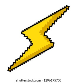 Vector pixel art 8bit illustration of a yellow lightning sign isolated on white background.