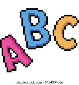 vector pixel art abc isolated cartoon