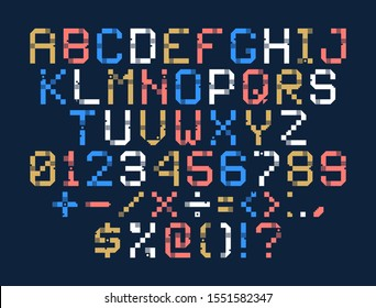 Vector Pixel Art Alphabet. Colorful Letters Consist of Modules. Letters from Strips, squares and dots. Geometric Alphabet for Posters like electronic scoreboard.