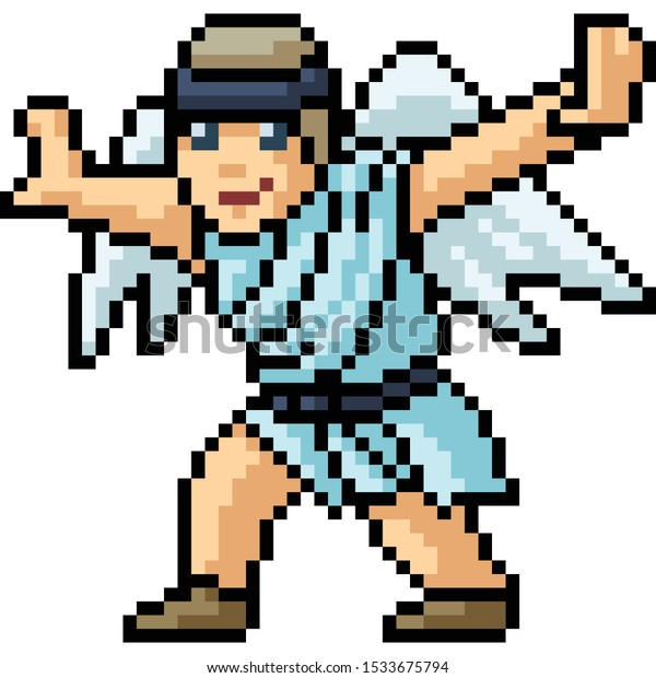 Vector Pixel Art Angel Fly Isolated Royalty Free Stock Image