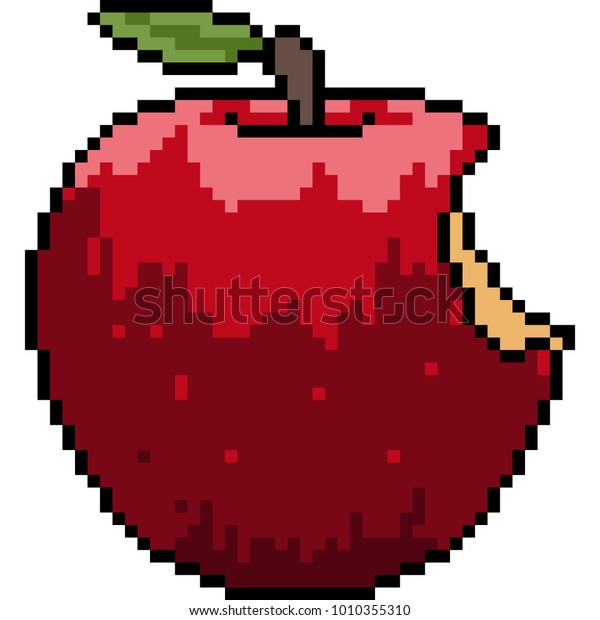Vector Pixel Art Apple Bite Isolated Stock Vector (Royalty
