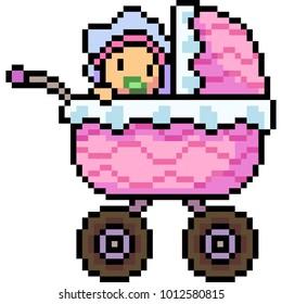 vector pixel art baby Stroller isolated
