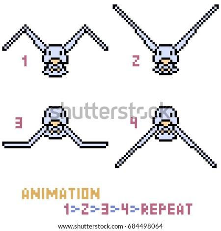 Vector Pixel Art Bird Animation Frame Stock Vector (Royalty Free ...