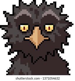 vector pixel art bird monster isolated cartoon