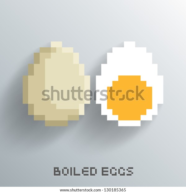Vector Pixel Art Boiled Egg Design Stock Vector Royalty