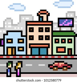 vector pixel art building city isolated