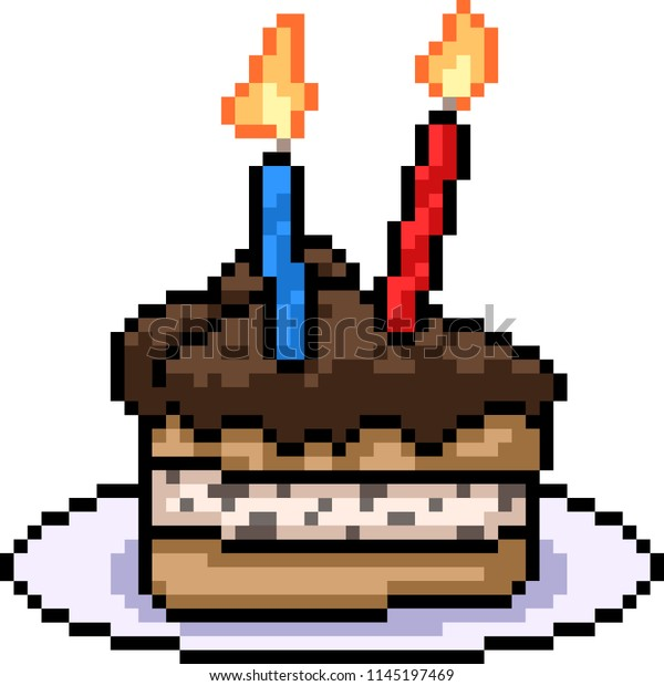 Vector Pixel Art Cake Sweet Snack Stock Image Download Now
