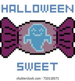 vector pixel art candy halloween isolated