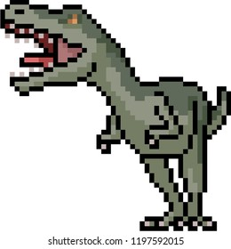 vector pixel art carnivore dinosaur isolated cartoon