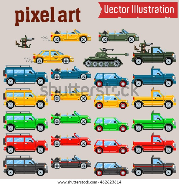 Vector Pixel Art Cars Tank Stock Vector Royalty Free 462623614