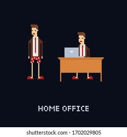 Pixelkunstfigur der Vektorillustration - junger männlicher Arbeiter zu Hause, hoher Büroanzug und Krawatte mit Unterhosen und Hausschuhen. Isolation, freiberufliche Arbeit. 8-Bit-Cartoon einzeln
