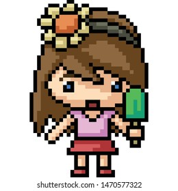vector pixel art chibi girl isolated cartoon