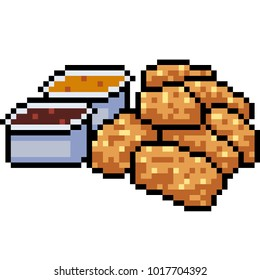 vector pixel art chicken nugget isolated