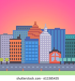 Vector pixel art city background. Architecture background with skyscrapers and road.