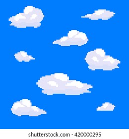 Vector pixel art cloud collection set
