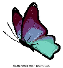 Vector pixel art colorful butterfly. Isolated butterfly on white background.