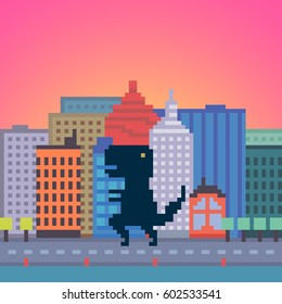Vector pixel art dinosaur in the city background