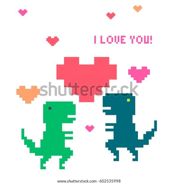 Image Vectorielle De Stock De Vector Pixel Art Dinosaur Love