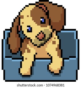 vector pixel art dog isolated cartoon