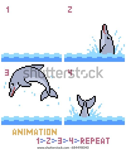 Image Vectorielle De Stock De Vector Pixel Art Dolphin