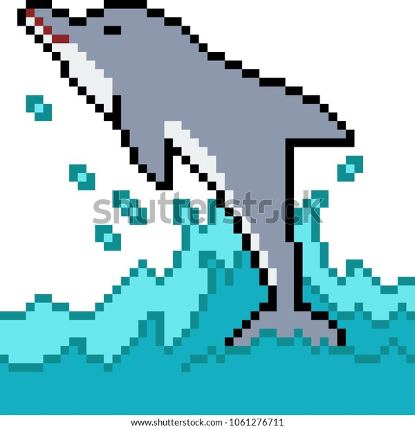 Vector Pixel Art Dolphin Jump Isolated Stock Vector Royalty