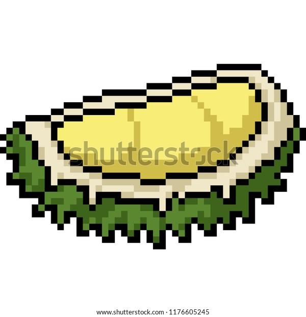 Vector Pixel Art Durian Isolated Cartoon Stock Vector