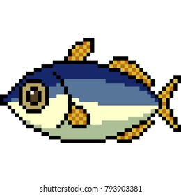 vector pixel art fish isolated