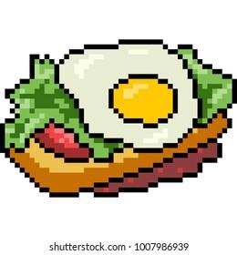 vector pixel art food bekery isolated