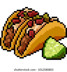 vector pixel art food taco isolated