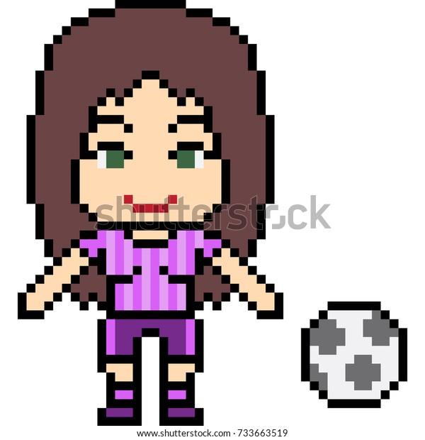 Image Vectorielle De Stock De Vector Pixel Art Football Girl