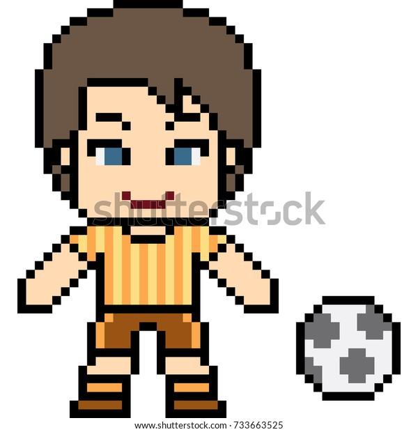 Vector Pixel Art Football Man Isolated Stock Vector Royalty