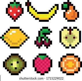 Vector pixel art fruits and berries