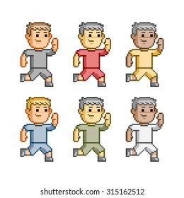 Vector pixel art, funny runners. Running and fitness