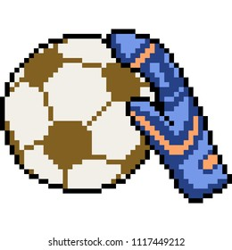 vector pixel art goal keeper isolated cartoon