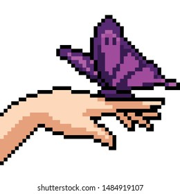 vector pixel art hand butterfly isolated cartoon