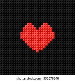 Vector Pixel Art heart on black pixel background. Symbol of love. Greeting card for Valentine Day. Flat design