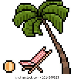 vector pixel art holiday beach isolated