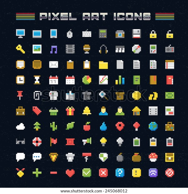 Vector Pixel Art Icons. Oldschool video game pixel style icons for any web or mobile applications and presentation