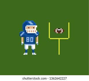 Vector pixel art illustration - American football gridiron player, oval-shaped football and goalposts