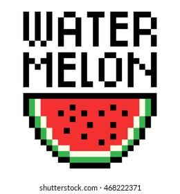 Vector pixel art illustration with fruit